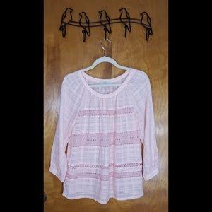Ann Taylor Loft Light Pink Cotton Blouse